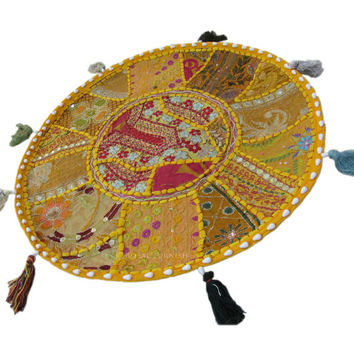 """17"""" Yellow Indian Patchwork Embroidered Round Floor Pillow Cushion Seating Cover Ethnic Decorative Art."""