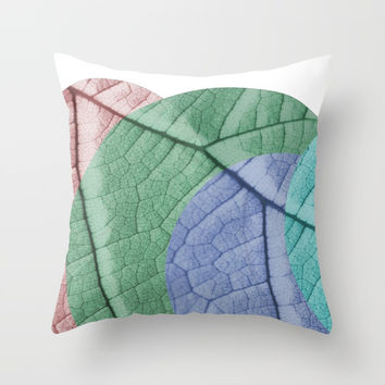 Pastel Leaf Collage Throw Pillow by ARTbyJWP