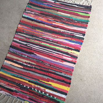 "Handwoven Small Rag Rug, Chindi Style, Boho Chic Hippie Rugs, Colorful Cotton Bath Mat, Kitchen Area Rug, Woven Loom Rug  26""x16"""