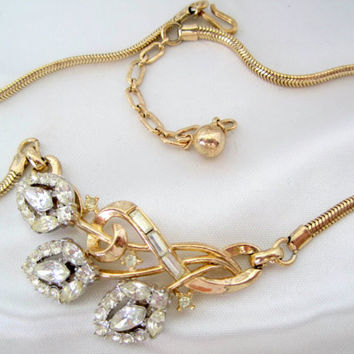 Vintage Crown Trifari Pat. Pend. Rhinestone Necklace