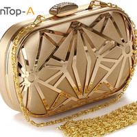 TenTop-A Women's New European and American Popular Evening Handbags Golden Hollow Metal Mesh Bag Hand Shoulder Bags Day Clutches