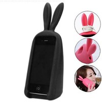 3D Cute Silicone Animal Rabbit Ear Case Stand Cover for iPhone 4 4S Black