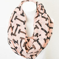 I Pattern Abstract Scarf Light Pink & Black Peach BOHO Lightweight Full Simple and Chic An Absolute Must for Fall