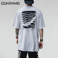 Ripped Striped T-Shirt Men Distressed Extended Holes Tee Shirts Male Hip Hop Swag Cotton Street wear Tops
