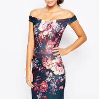 Floral Printed Off-Shoulder Midi Dress