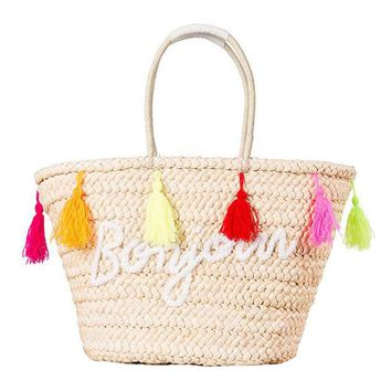 Hot Summer Straw Beach Handbags Purse Colorful Tassel Letter Women Shopping Tote Bohemian Style Weave Travel Shoulder Bag 131570