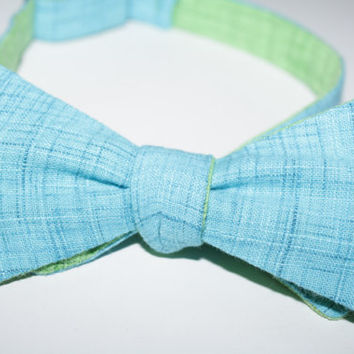 Men's Reversible Teal and Green Textured Cotton Bow Tie