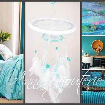 Original mobility Mint children's room boys girls white mint baby bed newborn baby cute nice gentle dreamcatcher lace handmade exclusive