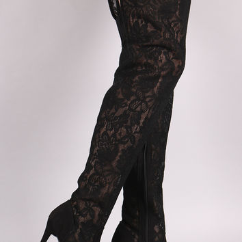 Suede Floral Lace Pointy Toe Stiletto Over-The-Knee Boots | UrbanOG