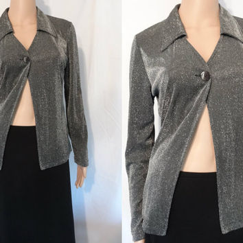 Vintage Disco Jacket Medium in Black and Silver by Byer California Silver, Metalic Thread Blazer
