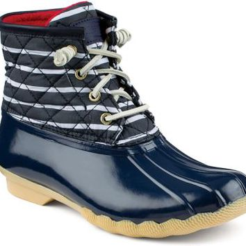 Sperry Top-Sider Saltwater Duck Boot Navy/Stripe, Size 10M  Women's Shoes