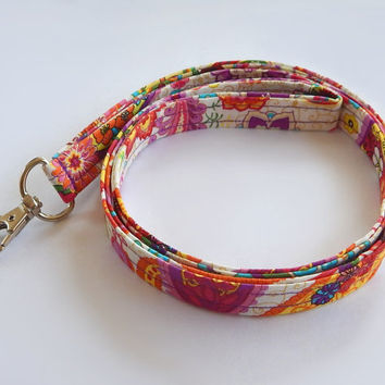 Floral Lanyard / Paisley / Cute Keychain / Floral Paisley / Colorful Lanyard / Key Lanyard / ID Badge Holder / Fabric Lanyard / Flowers