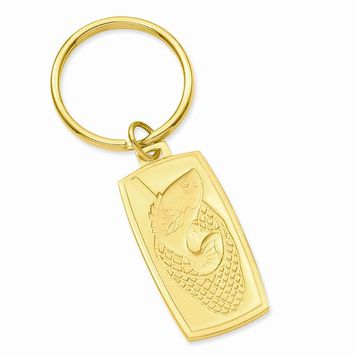Gold-plated Fish in Net Key Ring - Engravable Personalized Gift Item