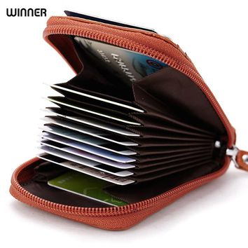 Genuine Leather Credit Card Holders Organ Female Card Holder Wallet Women Business Cardholder Organizer Men Purse by 8 Colors