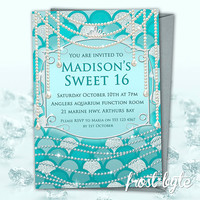 Tiffany Blue Sweet 16 Invitations - customised for your party - personalised birthday invites - pearls diamonds mermaid theme - digital file