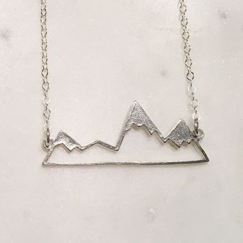 Silver Rustic Mountain Range Necklace