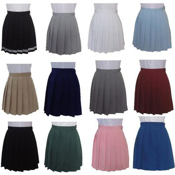 XS-3XL Harajuku JK Summer Skirts 2017 Women High Waist Pleated Skirt Wind Cosplay Macaron Solid Color Skirt Kawaii Female Skirts