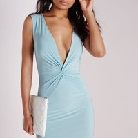Missguided - Slinky Knot Front Bodycon Dress Powder Blue