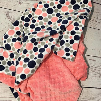 Personalized Baby Blanket,Coral Minky,Monogrammed,Baby Minky Blanket,Baby Gift,Baby Bedding,Coral and Navy Blanket,Gender Neutral,Handmade