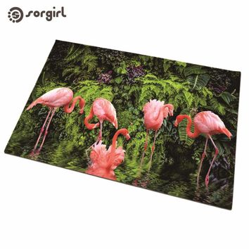Autumn Fall welcome door mat doormat Flamingos mat home decoration accessories  Front s Carpet Entrance Indoor Tropical rain forest plant Non-slip Floor Mat AT_76_7