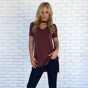 Cruise On Over Jersey Top in Plum