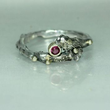 Gold Silver Ruby Twig Rustic Organic Alternative Statement Ring