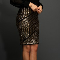 Sale-gold Geometric Sequin Pencil Skirt