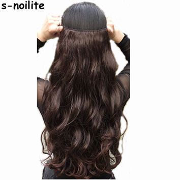 """s-noilite 18-28""""  Long Clip in ins hair Extensions synthetic 100% real natural hair Extentions 3/4 full head 1 Piece Black Brown"""