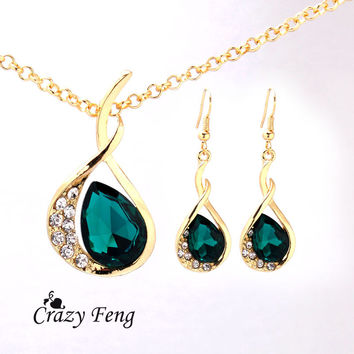 Women's 18k Yellow Gold Plated Emerald/White/Blue Sapphire Austrian Crystal Jewelry Sets Chain Necklace+Earrings Free shipping