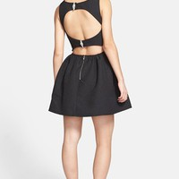 Trixxi Textured Open Back Skater Dress (Juniors) (Online Only) | Nordstrom