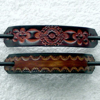 Retro Style Leather Hair Barrettes with Sticks, Hippie Hair Barrettes