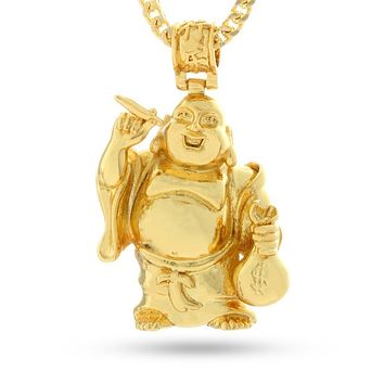 The 14K Gold Laughing Buddha Necklace