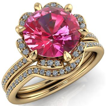 Daisy Round Pink Sapphire Floral Diamond Basket Design and Diamond Shoulders Ring