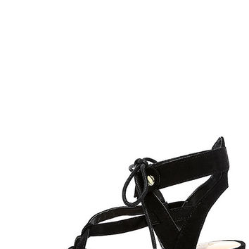 Hip to This Black Suede Heeled Sandals