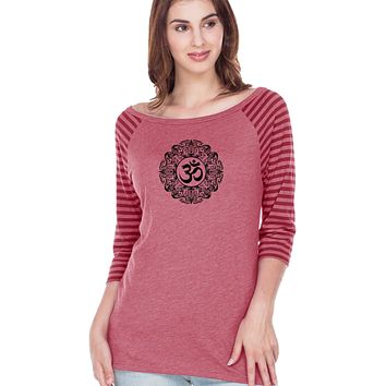 Yoga Clothing For You Black Ornate OM Striped Contrast 3/4 Sleeve Yoga Tee Shirt