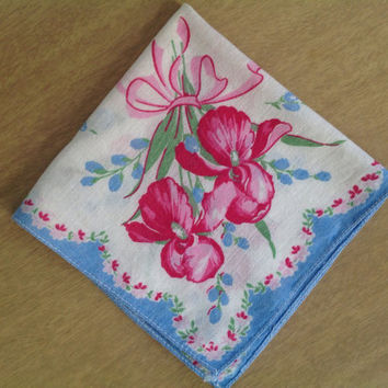 Vintage 40's Handkerchief Hankie Blue Trim Pink and Red Iris Bouquets