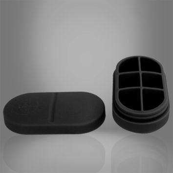 Portable Silicone Pill Box - 6 Compartment (Black)
