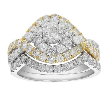 0.33 Carats 2 cttw Diamond Wedding Engagement Ring Set 14K Two Tone Gold