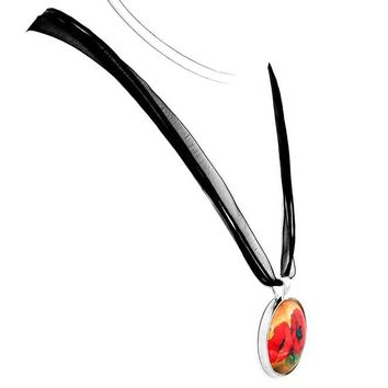 Two Red Poppies Pendant Necklace 2017 New Arrival Glass Art Long Necklaces Jewelry  YP2452