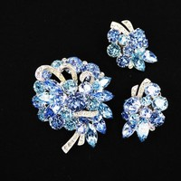 Blue Eisenberg Ice Brooch and Earrings Set, Blue and Clear Rhinestones, Clip On Earrings, Demi Parure, Vintage 1950's 1960's Designer Signed