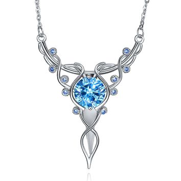 """Merthus 925 Sterling Silver Round Shaped Cirtrine Wire Vine Necklace Jewelry for Women,18"""""""
