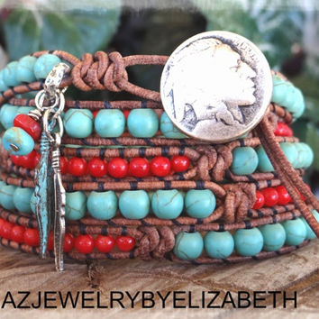 Southwestern, Native American, Turquoise Bracelet, Wrap Bracelet, Leather Bracelet, Coral Bracelet, Southwestern Jewelry, Beaded Wrap.