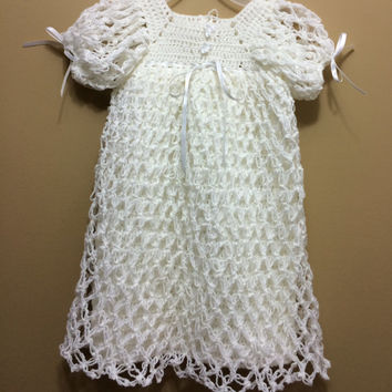 One of A Kind Handmade White Baptism Gown Baptism Dress Christening Gown Christening Dress