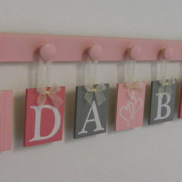 Pink and Gray Wooden Baby Nursery Wall Letters Sign, Name IDA BEA with HEARTS and 7 Pegs Board, Light Pink Room Decor Hanging Ribbon Letters