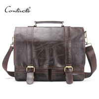 Men Retro Briefcase Business Shoulder Bag Leather Handbag Bag Computer Laptop Messenger Bags Men's Travel Bags