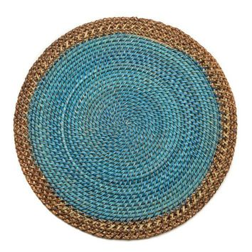 Shaded Rattan Placemat - S/2 Ocean