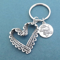 All we need is love, Heart, Lace, Key chain, Love, Key ring, Birthday, Friends, Lovers, Christmas, New year, Gift, Accessory