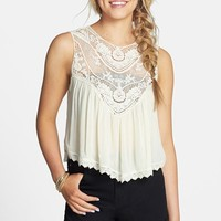 Hit List Crochet Yoke Crop Babydoll Tank (Juniors)