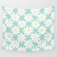 Bright Happy Daisies on Mint Wall Tapestry by Perrin Le Feuvre