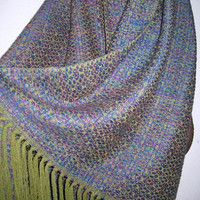 NEW Handwoven Silk and Wool Shawl, Thick Warm Wrap, Accessories by Tisserande